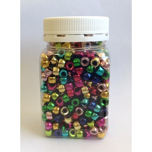 Plastic Pony Beads -  Metallic