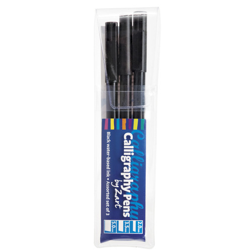 Calligraphy Pens Set Of 3 Black Felt Tip Calligraphy