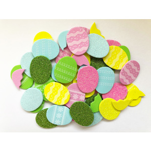Adhesive Foam Shapes - Eggs Pastel and Glitter